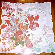 Autumn Bouquet Scalloped Edge Handkerchief