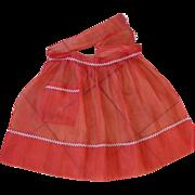 Red Sheer Taffeta/Chiffon Vintage Apron