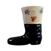 Porcelain Black Boot Shoe with Transfer Ware Flowers