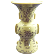 Asian Japan Miniature Vase Urn Purple Transferware