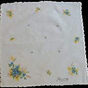 Jean d 'orly Paris Signed Floral Handkerchief Hanky
