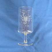Etched Scorpio Zodiac Drinking Glass