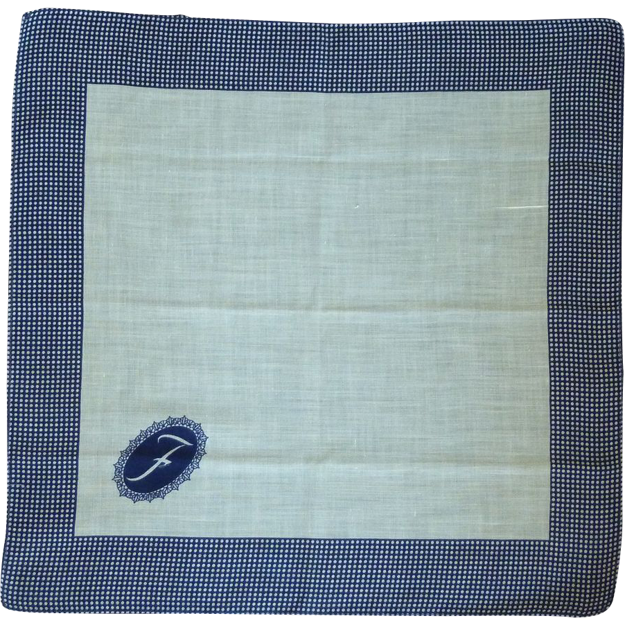 """""""F"""" Initial on White with Navy Blue Border Linen Handkerchief Hanky"""