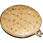 Argentina Ladies Powder Compact Brown Ostrich Leather