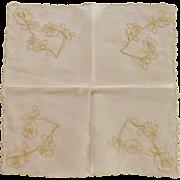 Pink See Through Scalloped Edged Rose Design Handkerchief