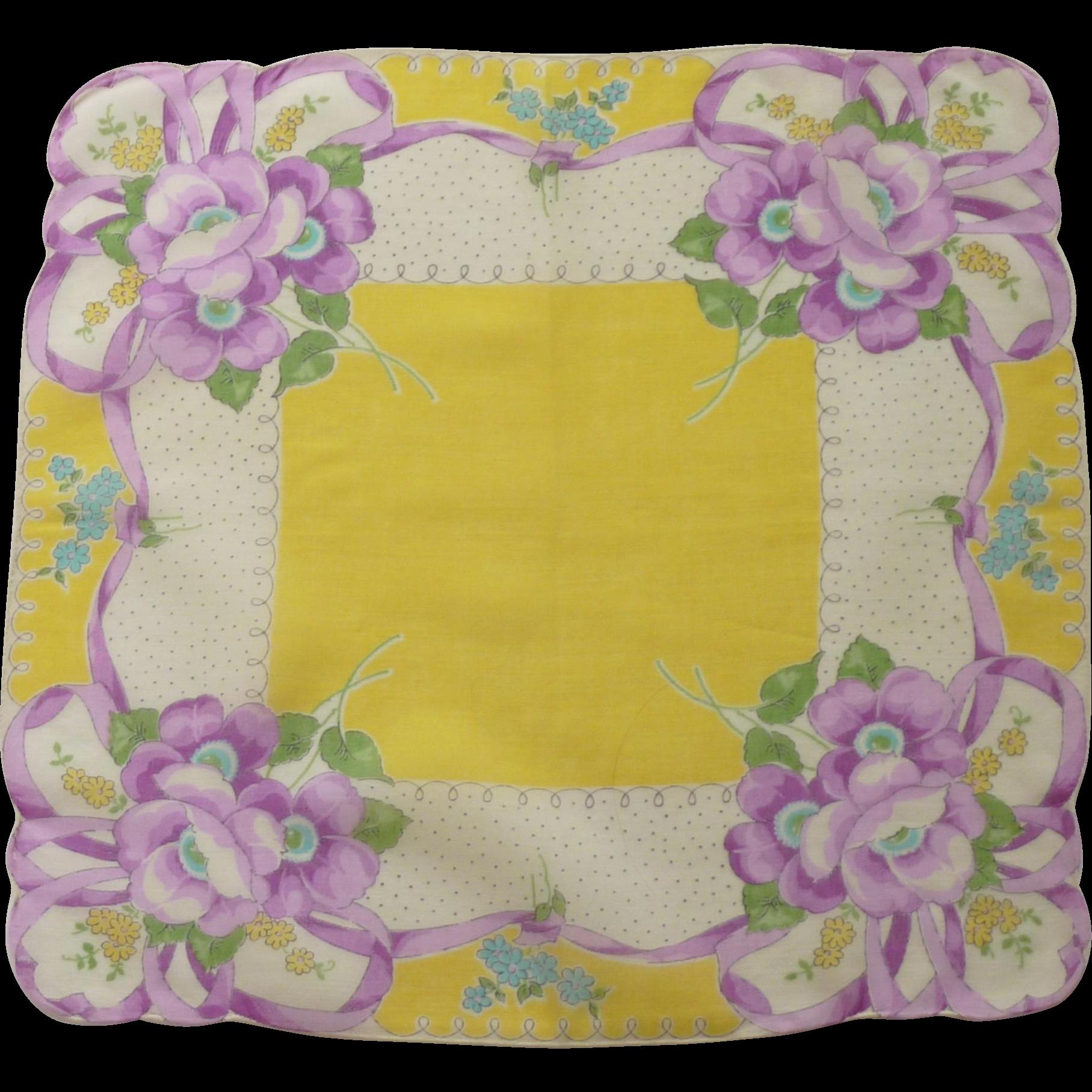 Bright Yellow  & Purple Floral Handkerchief