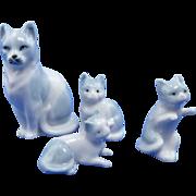 Four Porcelain Miniature Cat & Kittens