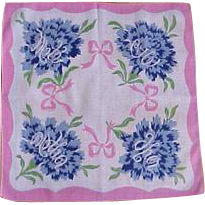 His and Her Pink and Blue Handkerchief