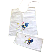 Hand Made Rooster Appliquéd 1950 Baby Bib and Pouch