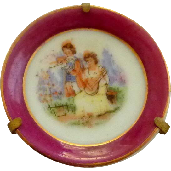 Miniature China Plate with Metal Display Holder