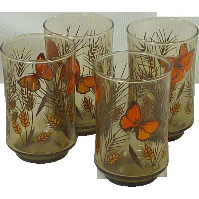 Butterfly 1970's Juice Breakfast Drinking Glasses