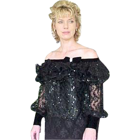 Neiman Marcus After Five Black Sequin Top Elegant
