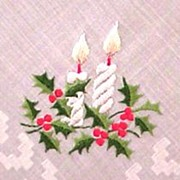 Christmas Candles and Holly Handkerchief