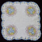 Round Scalloped Corners Blue Trim Bouquet Handkerchief Hanky