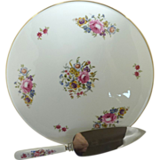 Royal Worcester Round Cake Plate and Cake Knife