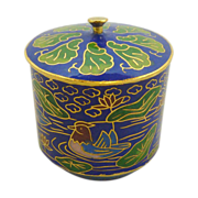 Royal Blue Cylinder Shape Miniature Cloisonne Pot / Box  with Lid