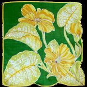 Bold Green and Yellow Flowers Linen Handkerchief Hanky