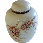 Small Hand Painted White Crème Ginger Jar