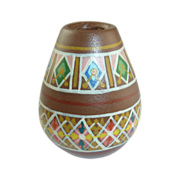 Brown Miniature Hand Painted Pottery Vase