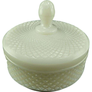 White Milk Glass Powder Puff/ Candy Dish with Lid