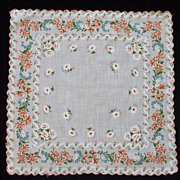 Scalloped Edge Orange Blue on White Flower Handkerchief Hanky Hankie