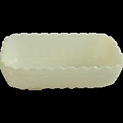 Rectangular White Milk Glass Planter or Bread Loaf Dish