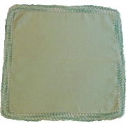 Green Linen Handkerchief with Variegated Green Tatting