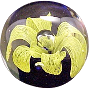 Glass Paperweight Yellow Flower Mirror Effect! Vintage