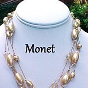 Vintage Monet Necklace Oblong Simulated Pearls Crystal Four Strand Signed