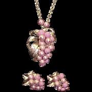 Parklane Necklace Earrings Brooch Parure Mauve Pink Signed Vintage Designer