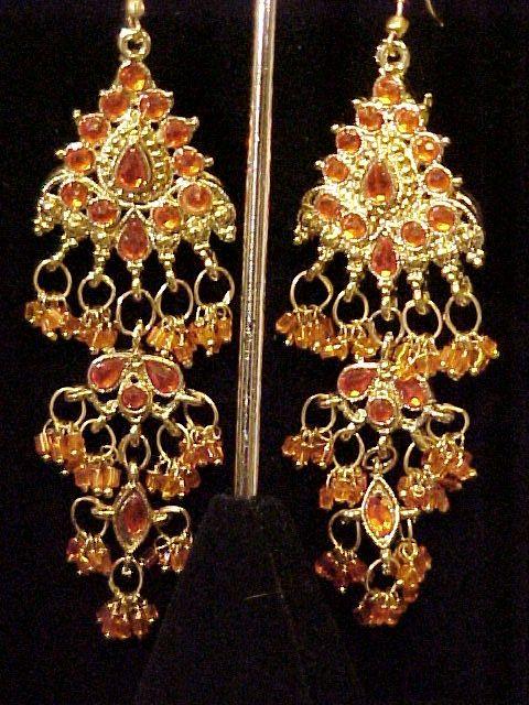 Chandelier Earrings  Show Stoppers!  Orange Rhinestone Vintage