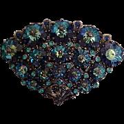 Weiss Brooch 1950s Cobalt Blue Margarita Crystals Signed Vintage Designer Jewelry