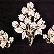 Coro Brooch Earrings 1940s Milk Glass Enamel Designer Signed Vintage