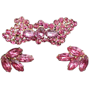 Czech Brooch & Earrings Set Sparkling Pink Crystals Signed Early 1900s