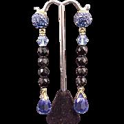 Earrings Briolette Prism Crystal Drop Dangle Cobalt Blue Glass Vintage