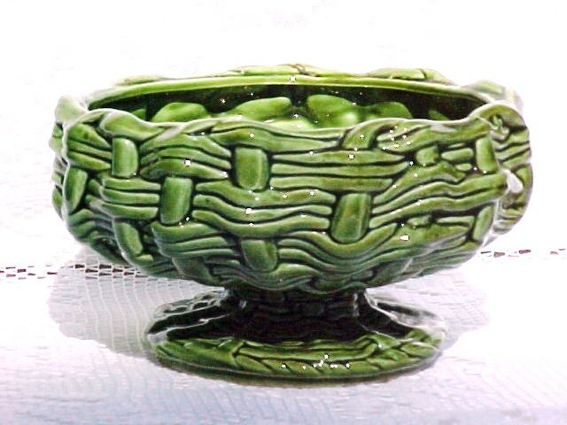 """1960s Compote Pedestal Bowl """"Wicker Weave"""" E O Brody Signed Green RARE Vintage"""