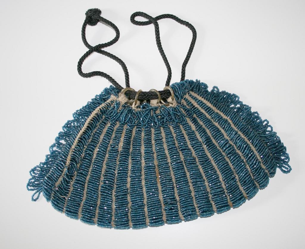 Beautiful Vintage Blue Beaded Bag c. 1900