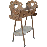 Country Fruitwood Crib with carved Heart Decorations