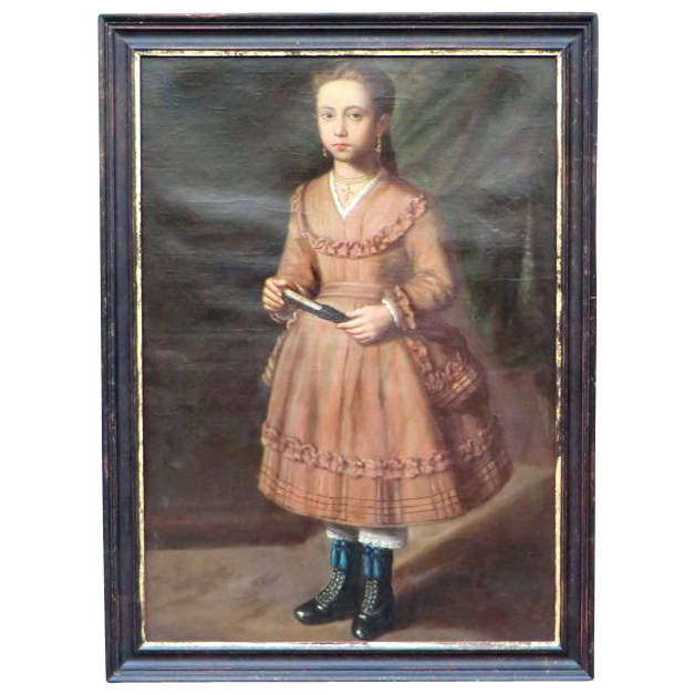 19th C. Oil painting of young Spanish Girl  .