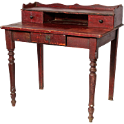 Small French Desk in original 'bullsblood' red paint