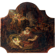 Primitive Nativity Scene Painting from France.