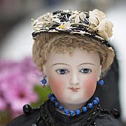 "14 1/2"" (37 cm) Very Beautiful Antique French Fashion Mona Lisa Smiling Bru, Original Body, Mohair Wig, Cork Pate, wonderful original silk dress!"