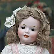 """15"""" (36 cm) Antique German Bisque Glass-Eyed Art Character Doll 141,by Hertel & Schwab, glass-eyed version of the rare character in appealing cabinet size"""