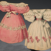 """Rare Antique  Early Two Gown for french paper doll """"La Poupee Modele""""  by Ackermann, England, c.1830."""
