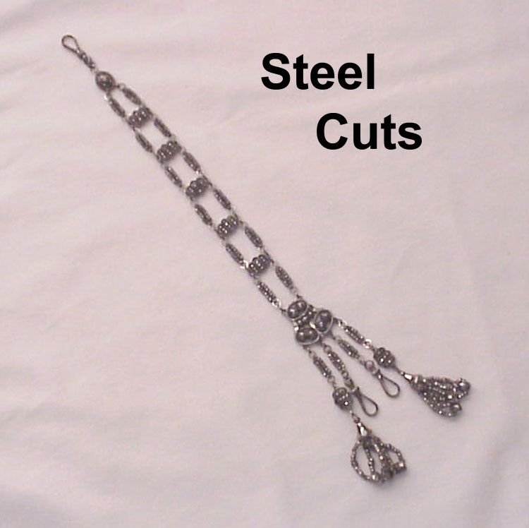 Fabulous Steel Cut Macaroni Watch Chatelaine - Circa 1800