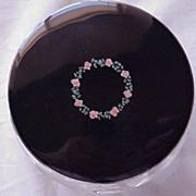 American Sterling Enamel Floral Cut Glass Dresser Jar