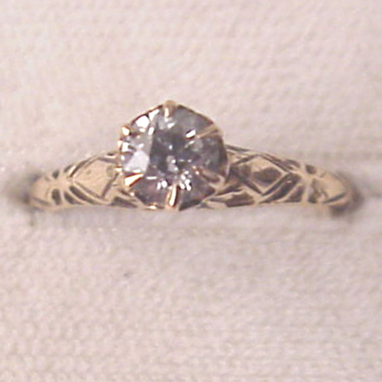14 Kt. Yellow Gold and 40 Pt. Diamond Solitaire Ring - Circa 1920