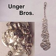 Unger Bros. Sterling Art Nouveau Watch Fob - Circa 1905