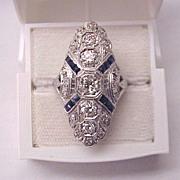 Platinum, Diamond and Synthetic Sapphire Art Deco Ring - Circa 1925