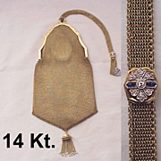 14 Kt. Gold Bag with Diamond & Sapphire Slide - Circa 1925